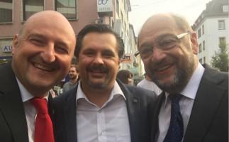 MdB Bernd Rützel und Martin Schulz im Bundestagswahlkampf 2017